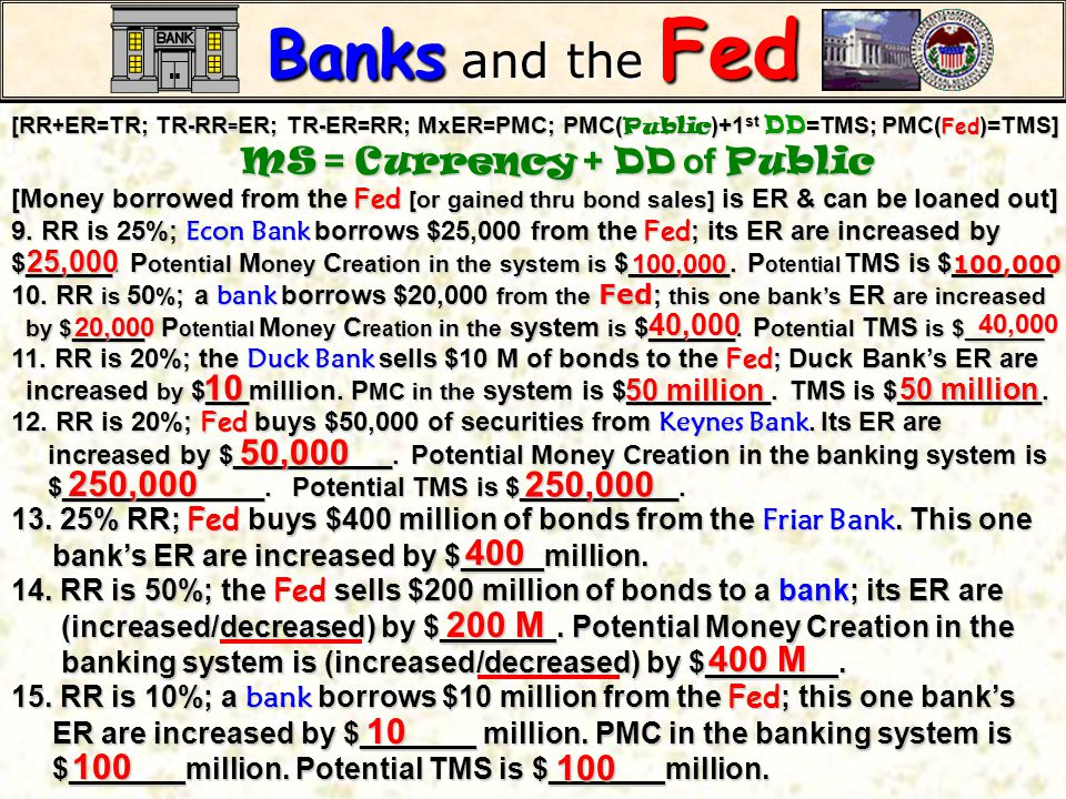 Banks and the Fed [RR+ER=TR; TR-RR=ER; TR-ER=RR; MxER=PMC; PMC(Public)+1st DD=TMS; PMC(Fed)=TMS] MS = Currency + DD of Public.